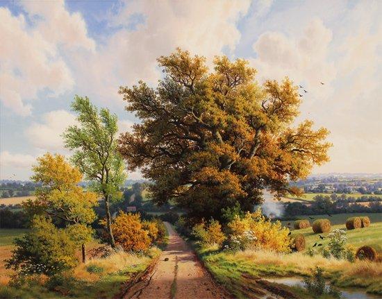 Daniel Van Der Putten, Original oil painting on panel, End of Summer, Lane to Denham