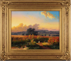 Daniel Van Der Putten, Original oil painting on panel, Sun Setting on the Poppy Field