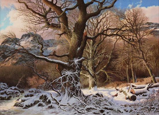 Daniel Van Der Putten, Original oil painting on panel, Winter at Great Langdale
