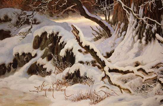 Daniel Van Der Putten, Original oil painting on panel, Winter at Great Langdale Signature image. Click to enlarge