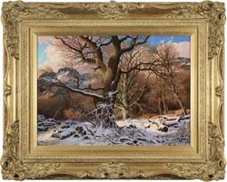 Daniel Van Der Putten, Original oil painting on panel, Winter at Great Langdale Large image. Click to enlarge