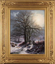 Daniel Van Der Putten, Original oil painting on panel, Christmas Eve in the Fields