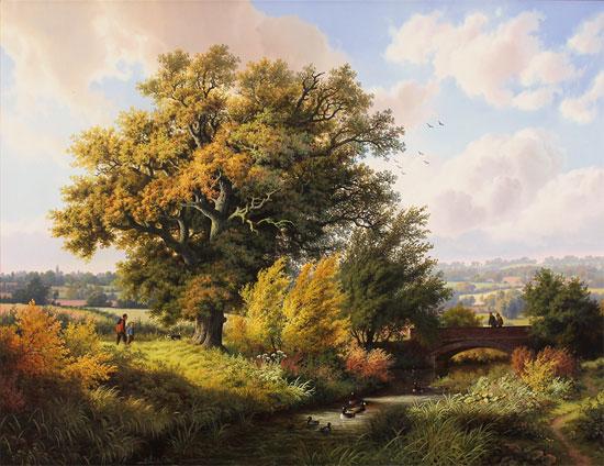 Daniel Van Der Putten, Original oil painting on panel, River near Greens Norton, Towcester No frame image. Click to enlarge