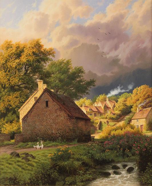 Daniel Van Der Putten, Original oil painting on panel, After the Rain, Bibury, Cotswolds Without frame image. Click to enlarge