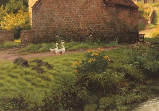 Daniel Van Der Putten, Original oil painting on panel, After the Rain, Bibury, Cotswolds Signature image. Click to enlarge