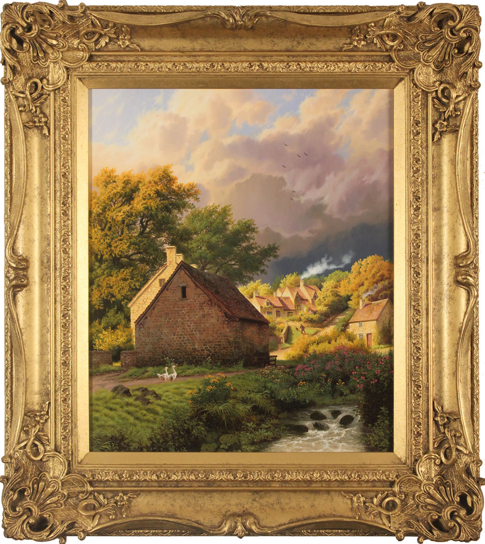 Daniel Van Der Putten, Original oil painting on panel, After the Rain, Bibury, Cotswolds, click to enlarge