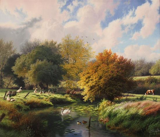 Daniel Van Der Putten, Original oil painting on panel, Autumn, River Dearne, Yorkshire No frame image. Click to enlarge