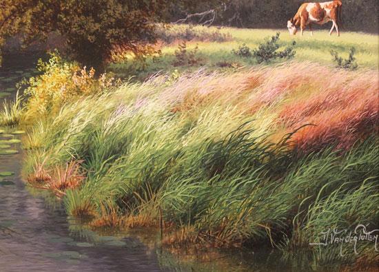 Daniel Van Der Putten, Original oil painting on panel, Autumn, River Dearne, Yorkshire Signature image. Click to enlarge