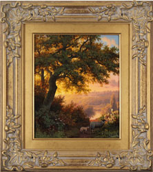 Daniel Van Der Putten, Original oil painting on panel, Sunset on Jack Hill, Otley, Yorkshire