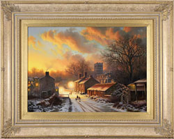 Daniel Van Der Putten, Original oil painting on panel, Sun Setting on Well, North Yorkshire