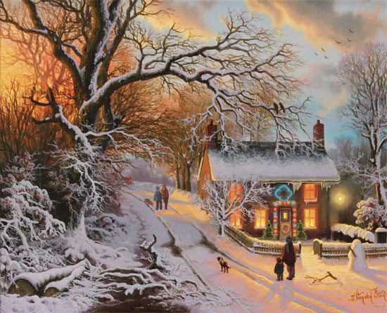 Daniel Van Der Putten, Original oil painting on panel, End of December, Lockton, North Yorkshire Without frame image. Click to enlarge