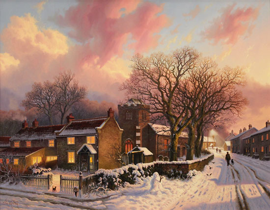 Daniel Van Der Putten, Original oil painting on panel, Evening at Lockton, North Yorkshire Without frame image. Click to enlarge