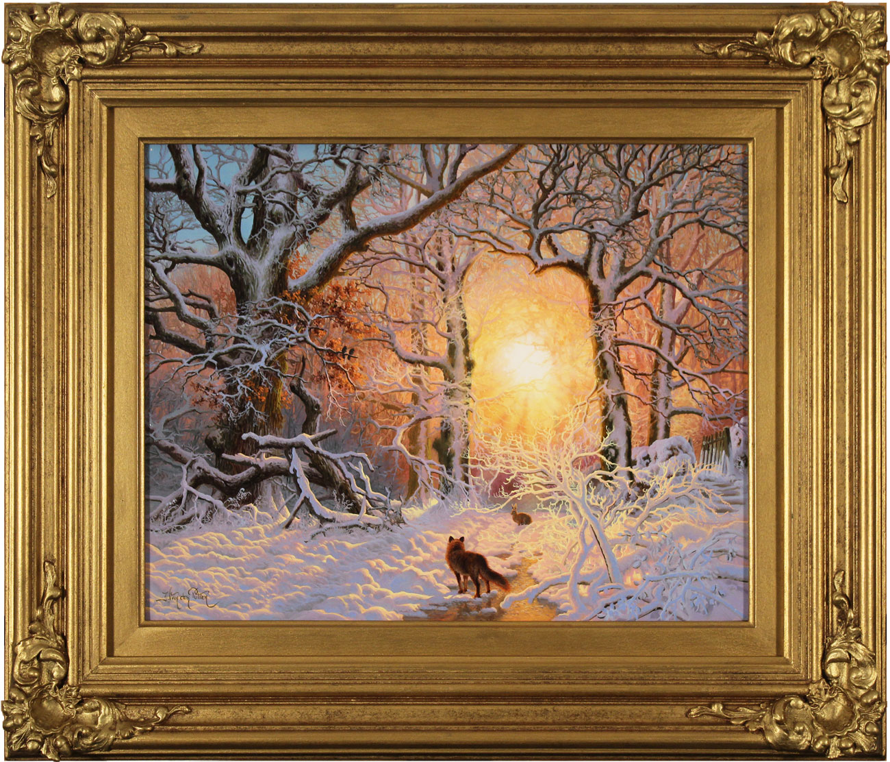 Daniel Van Der Putten, Original oil painting on panel, Fox in Mantles Heath Wood, click to enlarge