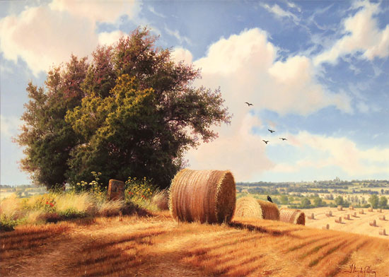 Daniel Van Der Putten, Original oil painting on panel, Summer on Weedon Hill Without frame image. Click to enlarge