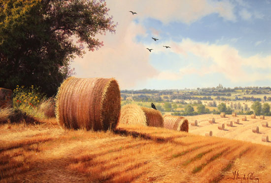 Daniel Van Der Putten, Original oil painting on panel, Summer on Weedon Hill Signature image. Click to enlarge