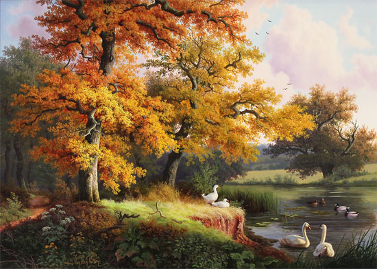 Daniel Van Der Putten, Original oil painting on panel, Swans at Silsden, Keighley, Yorkshire Without frame image. Click to enlarge