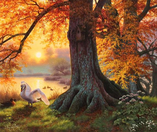 Daniel Van Der Putten, Original oil painting on panel, Autumn Evening Light, Silsden, Keighley, Yorkshire Without frame image. Click to enlarge