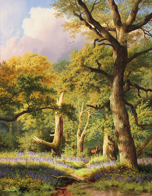 Daniel Van Der Putten, Original oil painting on panel, May in Beverley Woods, Yorkshire Without frame image. Click to enlarge