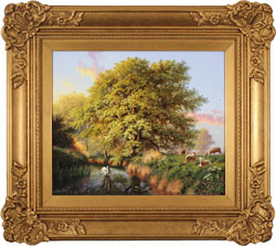 Daniel Van Der Putten, Original oil painting on panel, Beside the River Swale, Yorkshire