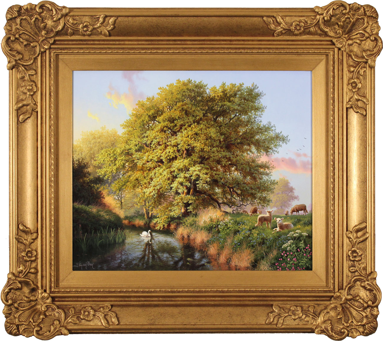 Daniel Van Der Putten, Original oil painting on panel, Beside the River Swale, Yorkshire, click to enlarge