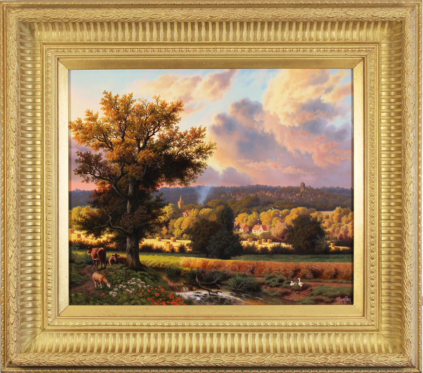 Daniel Van Der Putten, Original oil painting on panel, Milton Malsor in Summer, Northampton. Click to enlarge
