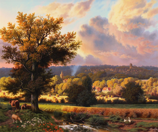 Daniel Van Der Putten, Original oil painting on panel, Milton Malsor in Summer, Northampton Without frame image. Click to enlarge