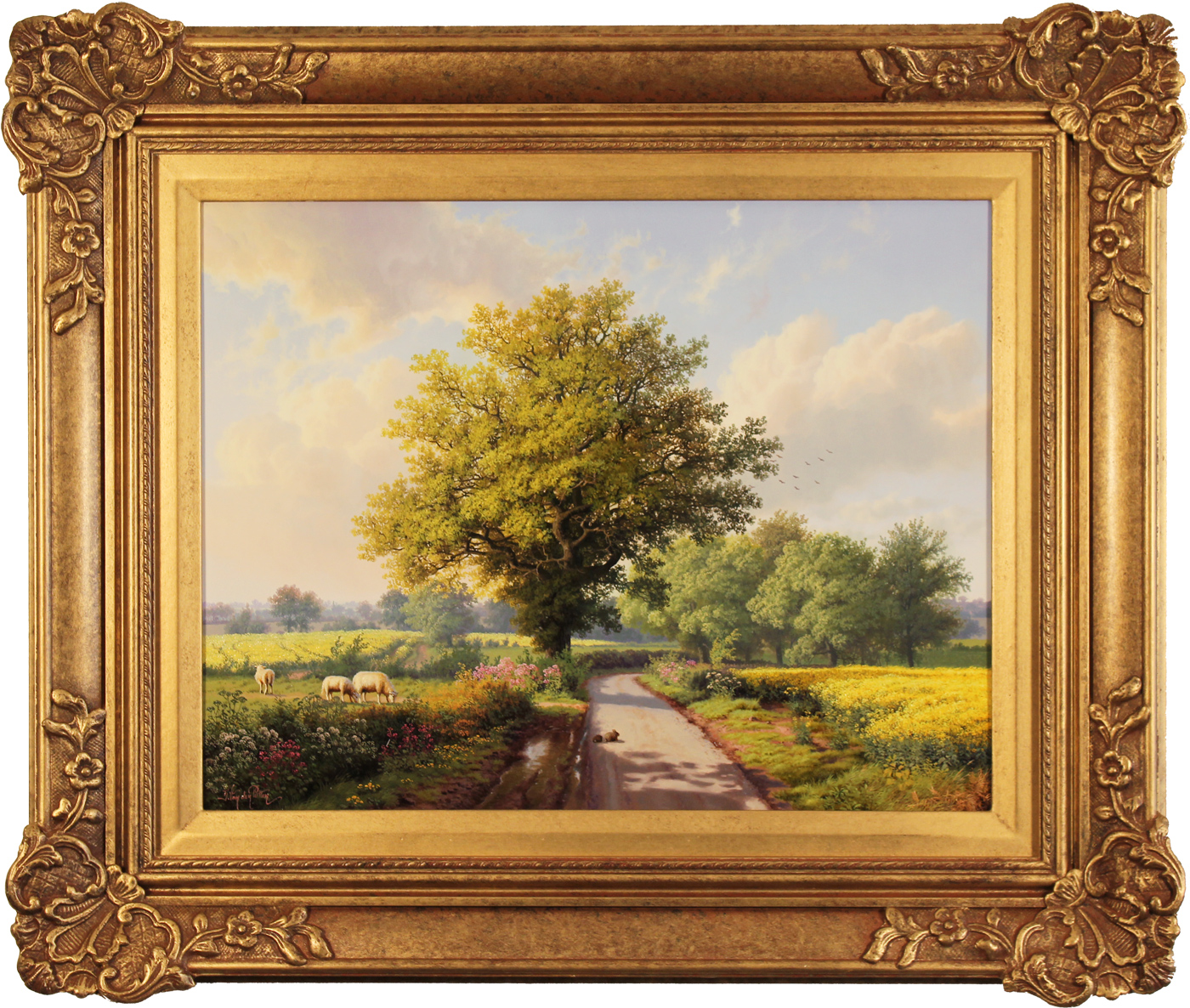Daniel Van Der Putten, Original oil painting on panel, Road to Longborough in May, The Cotswolds. Click to enlarge