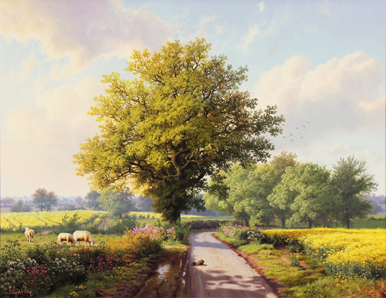 Daniel Van Der Putten, Original oil painting on panel, Road to Longborough in May, The Cotswolds Without frame image. Click to enlarge