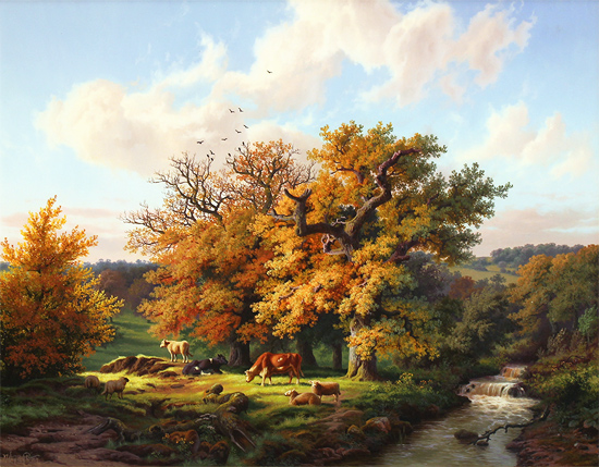 Daniel Van Der Putten, Original oil painting on panel, Autumn at Charwelton