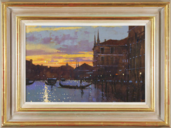 David Sawyer, RBA, Original oil painting on panel, Winter Sunset, the Grand Canal, Venice