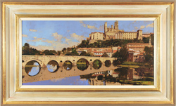 David Sawyer, RBA, Original oil painting on panel, The Old Bridge and Cathedral, Beziers