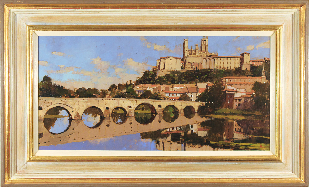 David Sawyer, RBA, Original oil painting on panel, The Old Bridge and Cathedral, Beziers, click to enlarge