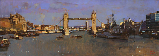 David Sawyer, RBA, Original oil painting on panel, Tower Bridge and HMS Belfast No frame image. Click to enlarge