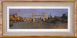 David Sawyer, RBA, Original oil painting on panel, Tower Bridge and HMS Belfast Large image. Click to enlarge