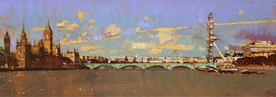 David Sawyer, RBA, Original oil painting on panel, Westminster, View from Lambeth Bridge Without frame image. Click to enlarge