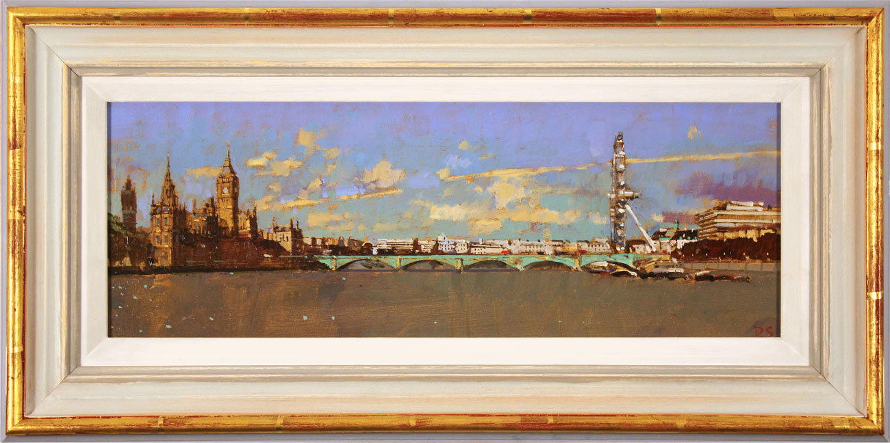 David Sawyer, RBA, Original oil painting on panel, Westminster, View from Lambeth Bridge. Click to enlarge