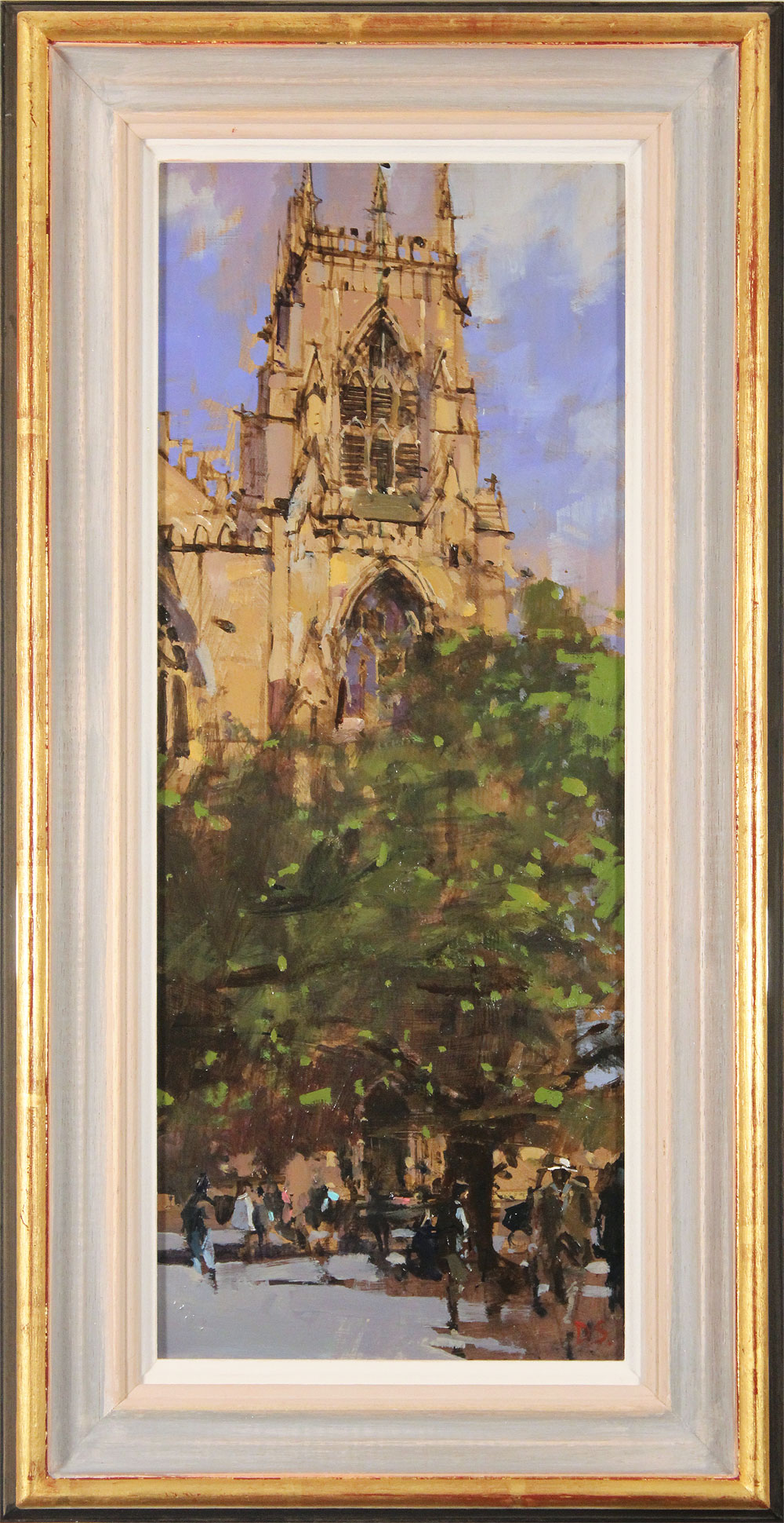 David Sawyer, RBA, Original oil painting on panel, The Panama Hat, Spring Afternoon, York Minster, click to enlarge