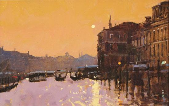 David Sawyer, RBA, Original oil painting on panel, Sunset Reflections, Grand Canal, Venice