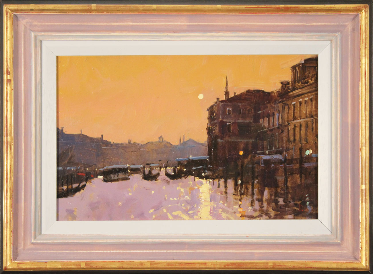 David Sawyer, RBA, Original oil painting on panel, Sunset Reflections, Grand Canal, Venice, click to enlarge