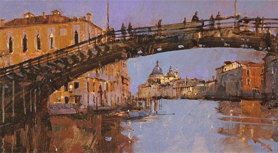David Sawyer, RBA, Original oil painting on panel, Evening Light, Beneath the Accademia Bridge, Venice