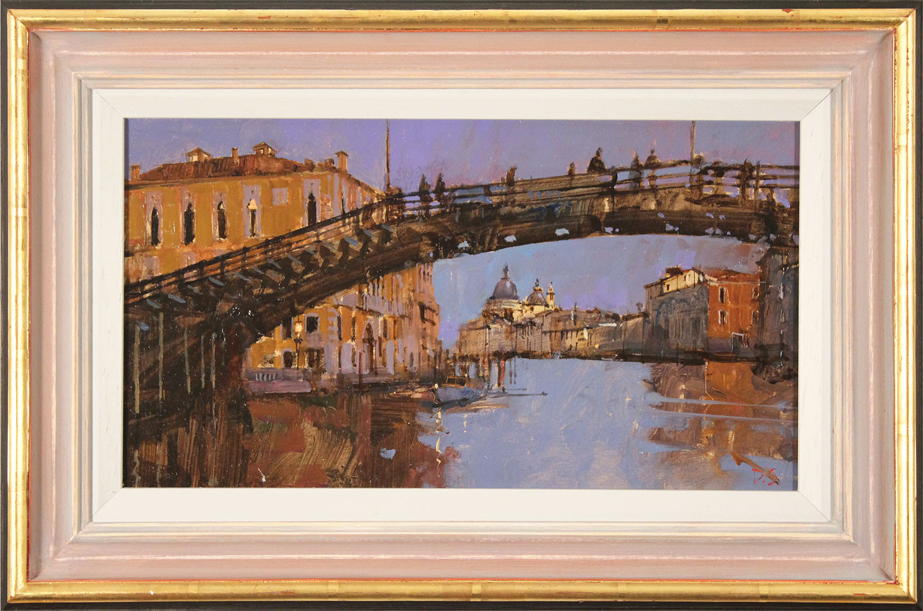 David Sawyer, RBA, Original oil painting on panel, Evening Light, Beneath the Accademia Bridge, Venice. Click to enlarge