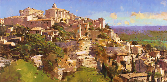 David Sawyer, RBA, Original oil painting on panel, Village Perche, Gordes, Provence Without frame image. Click to enlarge