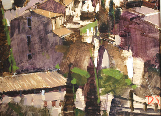 David Sawyer, RBA, Original oil painting on panel, Village Perche, Gordes, Provence Signature image. Click to enlarge