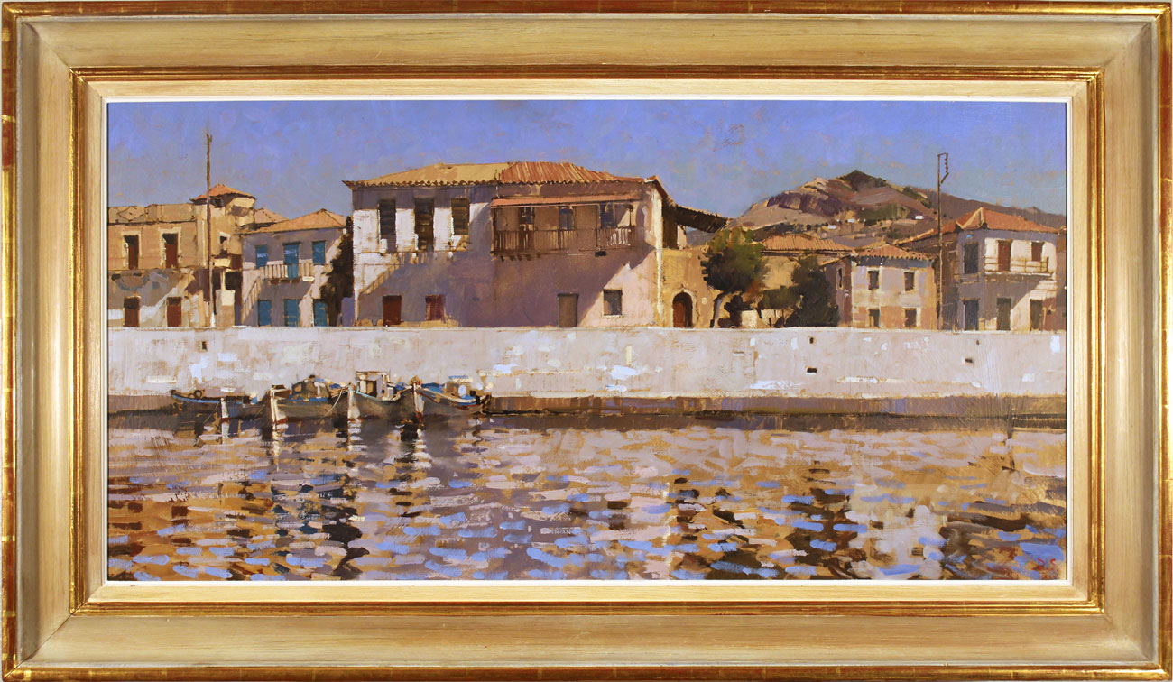 David Sawyer, RBA, Original oil painting on canvas, Peloponnese Waterfront, click to enlarge