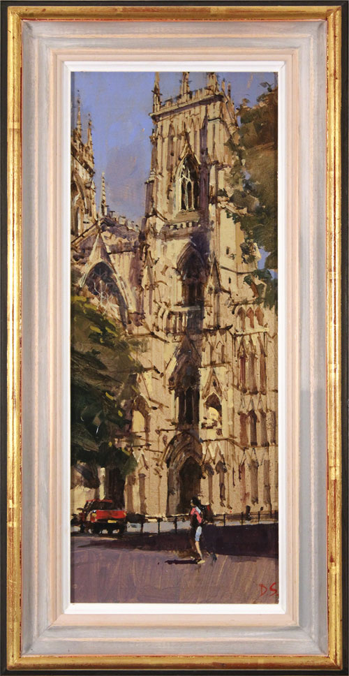 David Sawyer, RBA, Original oil painting on panel, The Red Truck, York Minster