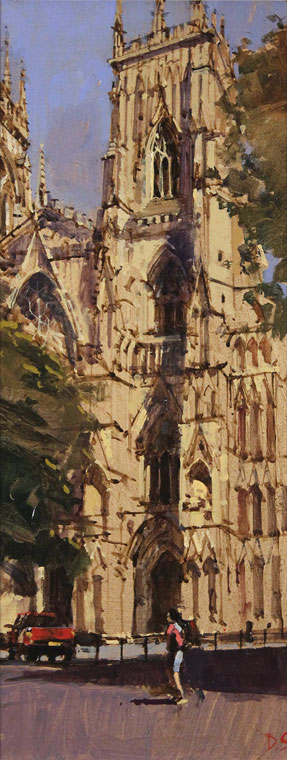 David Sawyer, RBA, Original oil painting on panel, The Red Truck, York Minster Without frame image. Click to enlarge
