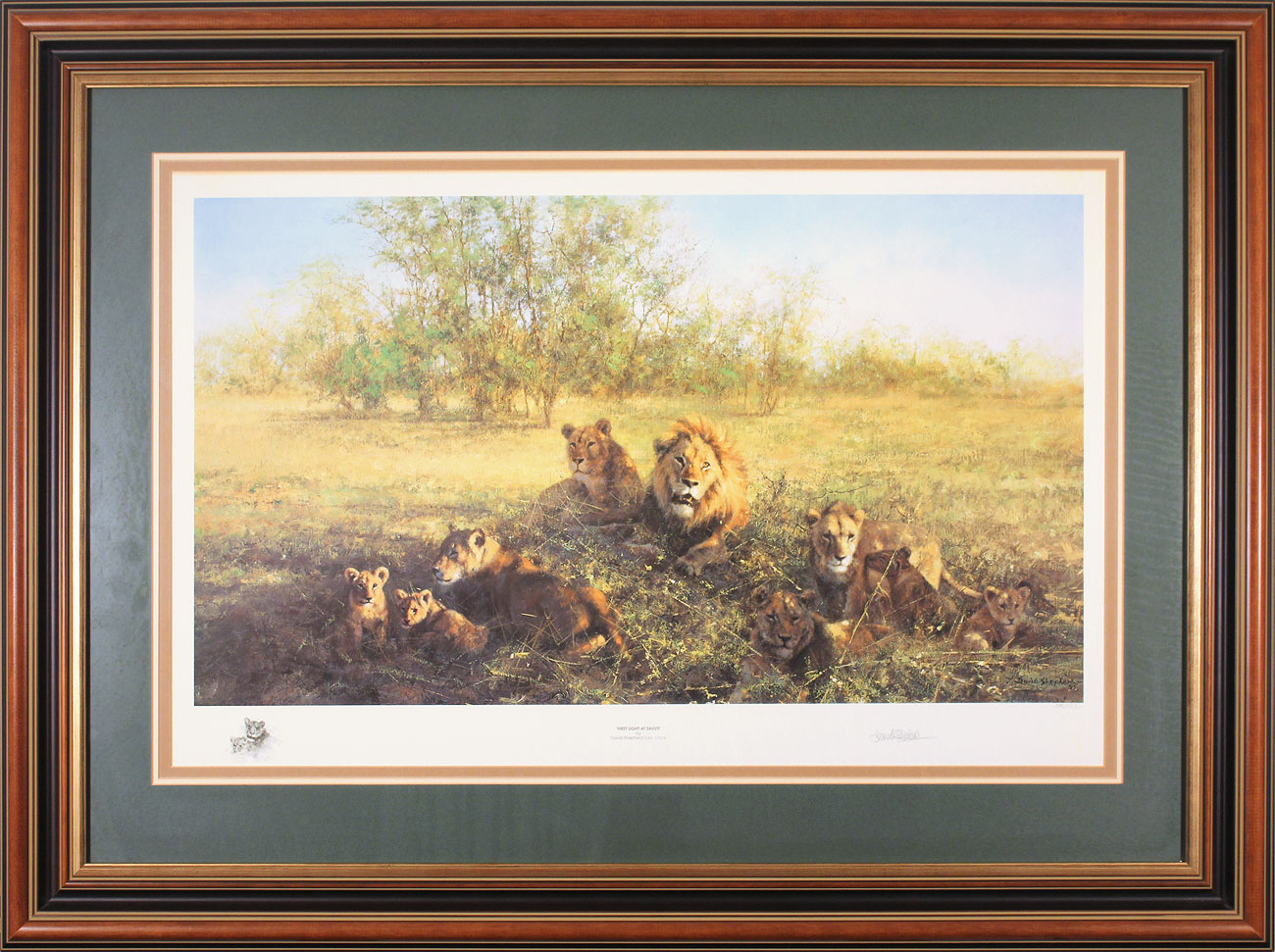 David Shepherd, Signed limited edition print, First Light at Savuti, click to enlarge