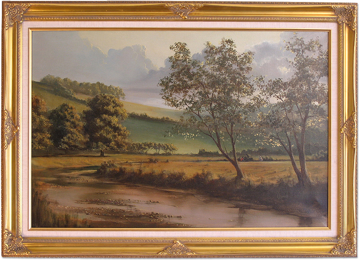 David Dipnall, Original oil painting on canvas, Autumn on the River Aire, click to enlarge
