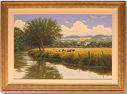 David Morgan, Original oil painting on canvas, Cows and River