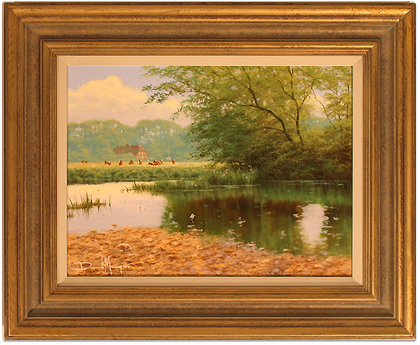 David Morgan, Original oil painting on canvas, Across the Lake No frame image. Click to enlarge